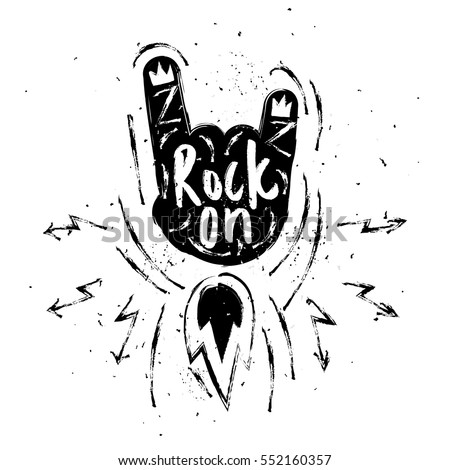 rock on lettering. rock and...