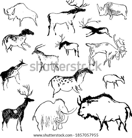Rock painting cave old art symbol hand drawn vector illustration. Prehistoric animal art of primitive people, ornament isolated on white background. ストックフォト ©