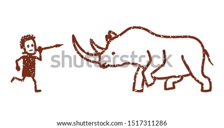 Rock painting depicting a hunter on a woolly rhino. Vector illustration, flat design style. Isolated on a white background.
