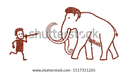 Rock painting depicting a mammoth hunter. Vector illustration, flat design style. Isolated on a white background.