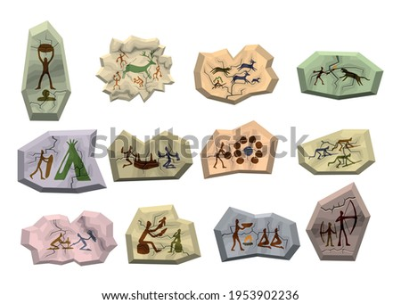 Rock paintings isolated on white background. Stoneage primeval family people, prehistoric animals, tools vector illustration set. Cave art.