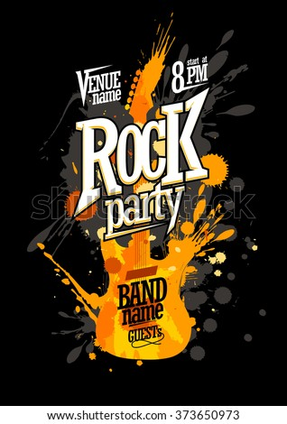 rock party poster design with
