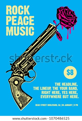 rock peace music gig poster