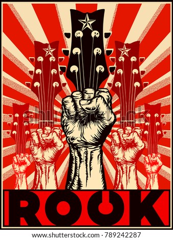 ROCK. Poster vector illustration of protest raised fist and guitar silhouettes in a ray red background in the style of soviet propaganda posters.