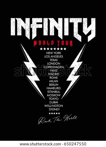 Rock print with capital cities list and lighting on black background in vector.