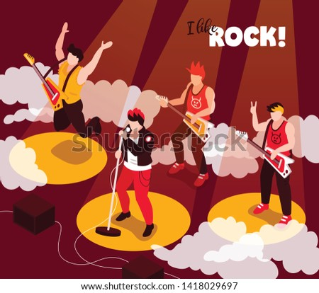 Rock punk musicians band performance isometric composition with singer guitarists stereo loudspeakers spotlight rays background vector illustration