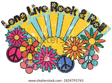 Rock & Roll Slogan Print with Hippie Style Flowers Background - 70's Groovy Themed Hand Drawn Abstract Graphic Tee Vector Sticker