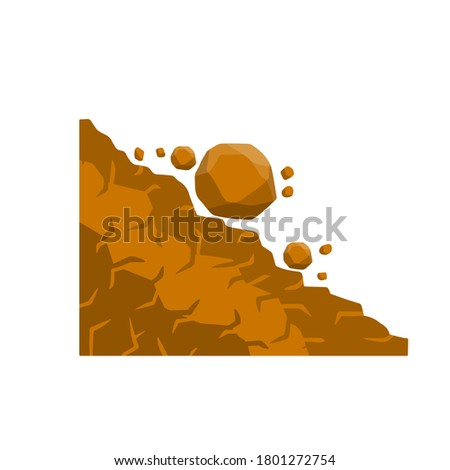 Rock rolls off a cliff. Falling boulder. Rockfall and landslide. Business concept of crisis and problems. Element of nature and mountains. Brown earth. Flat cartoon illustration. Stockfoto ©