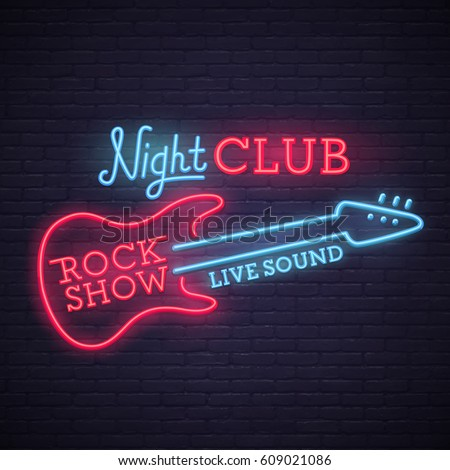 Rock Show sign. bright signboard, light banner. Night club logo, emblem.