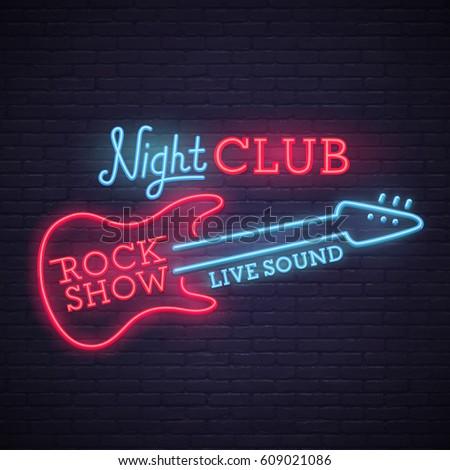 Rock Show sign. bright signboard, light banner. Night club logo, emblem.