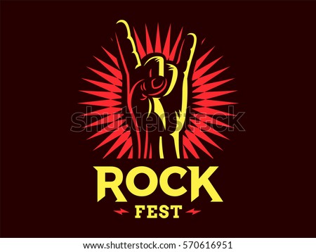 Rock sign gesture for music festival - logo, illustration on a dark background