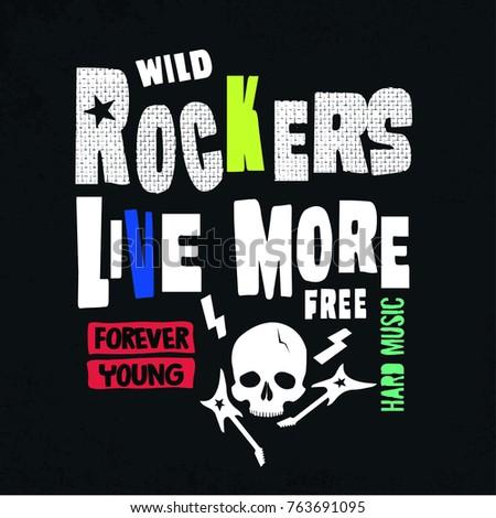 rock slogan vector for print