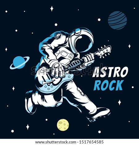 Rock star astronaut.Astronaut playing electric guitar in space.Vector illustration.