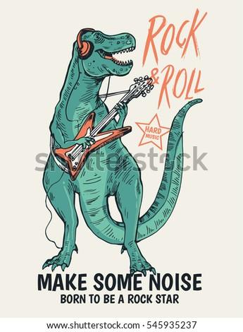 rock star dinosaur illustration