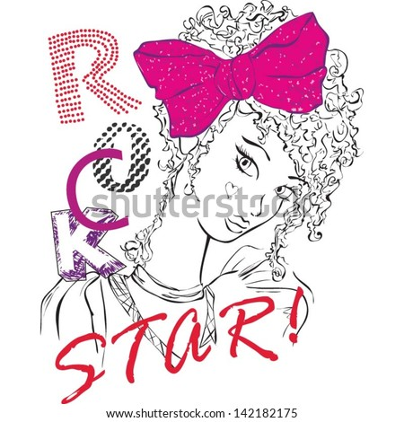 Rock Star Girl has Curly Hair and a Pink Bow