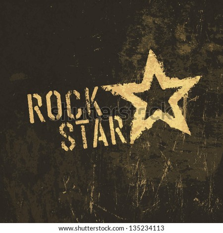 Rock star grunge icon. With stained texture, vector Stock photo ©