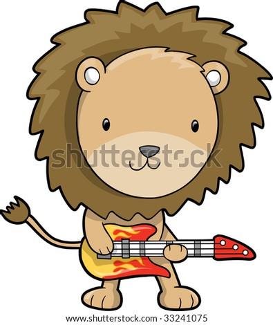 Rock Star Lion Vector Illustration