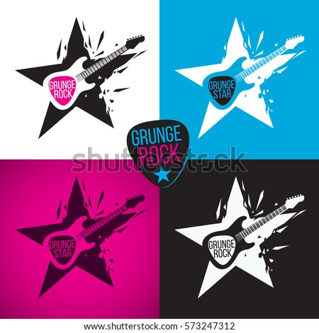 rock star logo  electric guitar