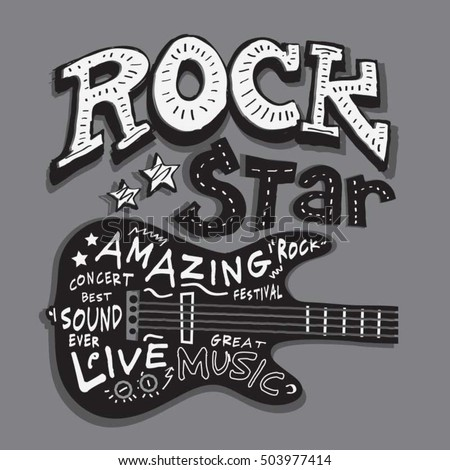 rock star music typography  t
