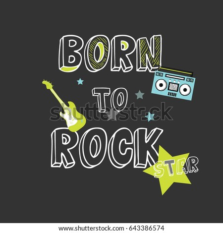 rock star slogan illustration vector for print