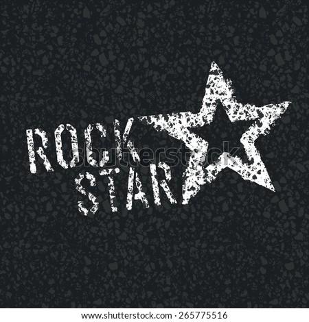rock star symbol on asphalt