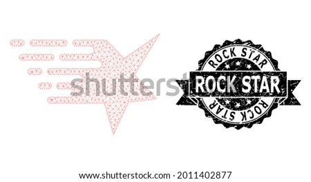 Rock Star unclean stamp and vector star mesh model. Black stamp seal contains Rock Star title inside ribbon and rosette. Abstract flat mesh star, designed with triangular grid. Foto stock ©
