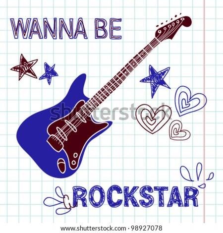 Rock star vector guitar illustration - stock vector