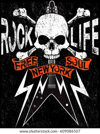Stock Photo Rock Star vintage rock and roll typographic for t-shirt; tee design; poster; vector illustration