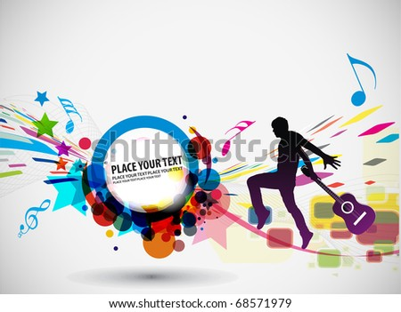 Rock star with a guitar isolated over colorful illustration background.
