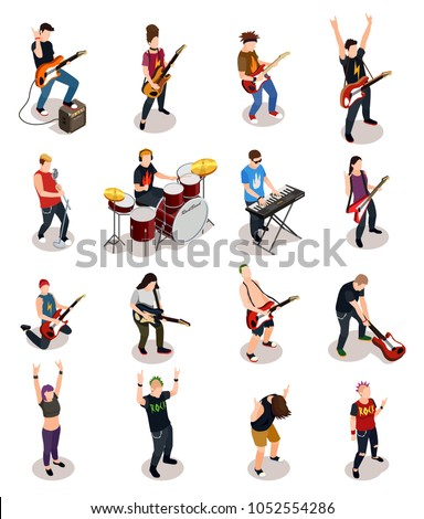 Rock stars set of isometric people with musical instruments including drums, synthesizer, guitars isolated vector illustration