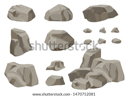 rock stone big set cartoon