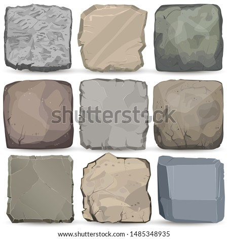 Rock stone cartoon banner set. Square stone interface game panel. Solid stony mineral, Big boulder. Concrete signboard. Granite wall natural background. Vector