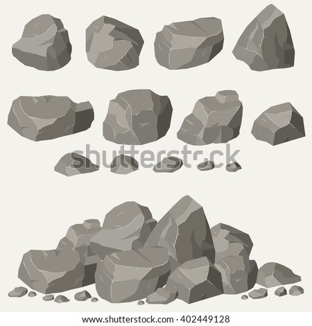 rock stone cartoon in isometric
