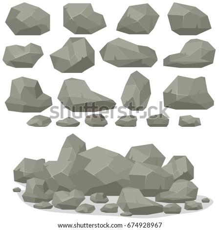 rock stone cartoon in isometric