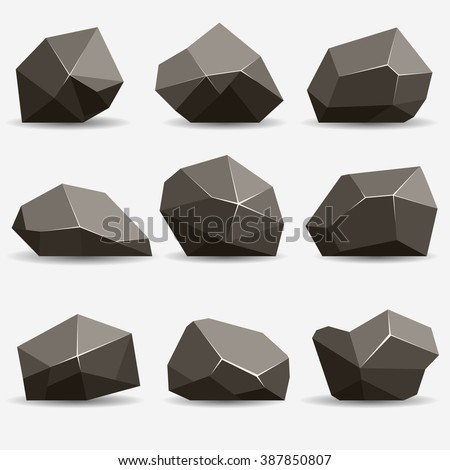 rock stone isometric view set