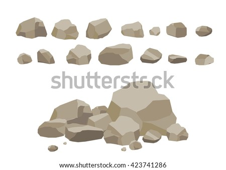 Rock stone set cartoon. Stones and rocks in isometric 3d flat style. Set of different boulders. Video Game