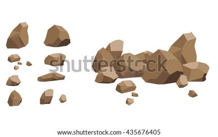 rock stone set cartoon stones