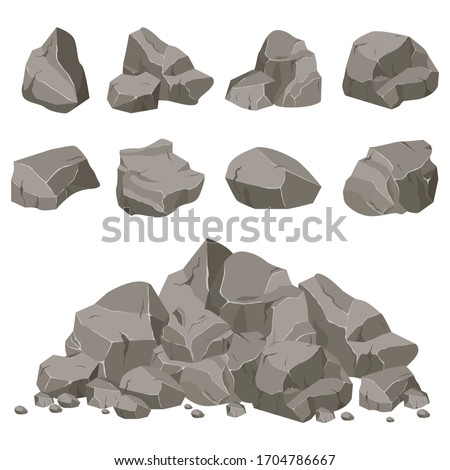 Rock stone set cartoon. Stones of various shapes. Rocks and debris of the mountain. A huge block of stones. Stone shard