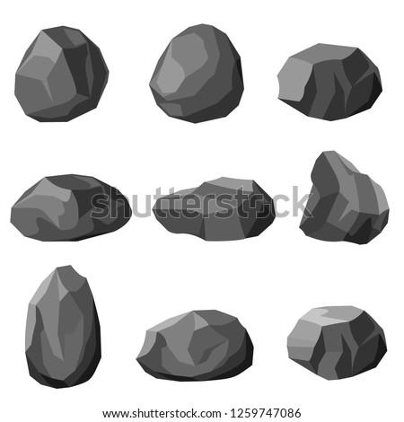 Rock stone set vector.