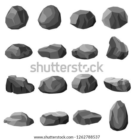 Rock stone set vector