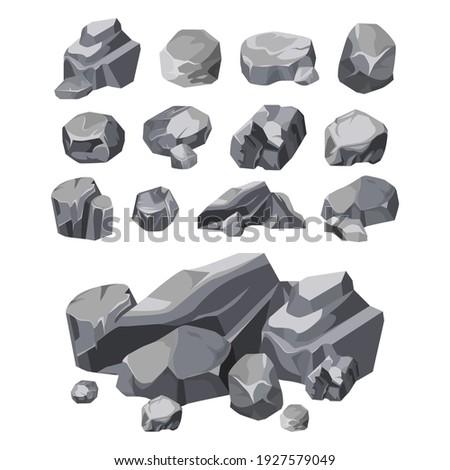 Rock stones, boulder piles and broken rubble, vector isolated set. Rock stones or wall building and construction debris, flat cartoon illustration, gray gravels of concrete or granite rock blocks ストックフォト ©