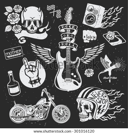 rock themed badges vector