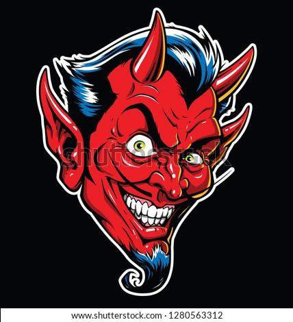rockabilly devil tattoo vector