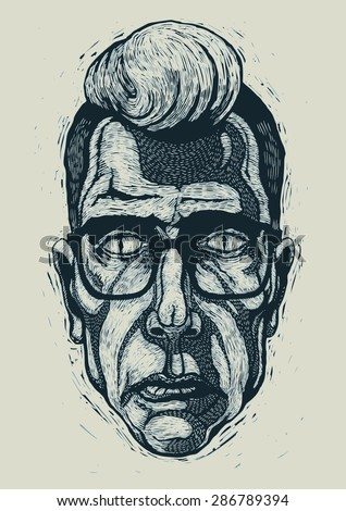 Rockabilly man in spectacles and with forelock on head. engraving style. vector illustration. Foto stock ©