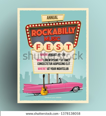 Rockabilly music festival or party or concert promo poster. Flyer template. Vintage styled vector illustration. Stock photo ©