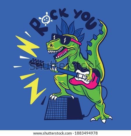Rocker Dinosaur playing guitar drawing illustration. Dinosaur and guitar vector print.Fun t-shirt design for kids.Cute Dinosaur character design.