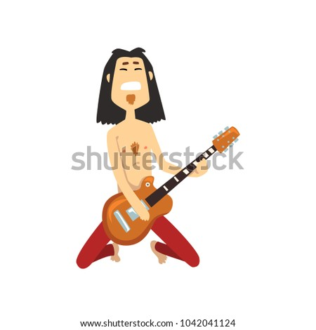Rocker playing guitar on his knees. Guitarist of rock or metal band. Musical performer on stage. Cartoon character of man with long hair in red pants. Flat vector design