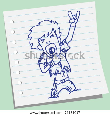 rocker vocalist doodle illustration vector