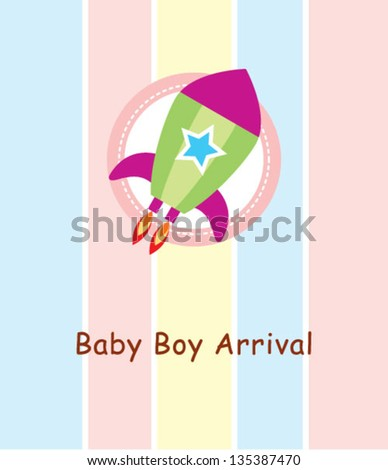 rocket baby boy arrival card #135387470
