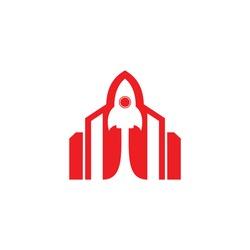 Rocket Building Vector Logo Design